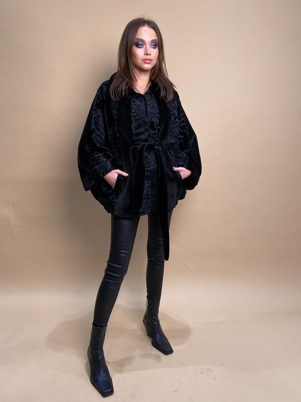 Каракульчи шуба 15 длина 60 см цвет черный воротник стойка